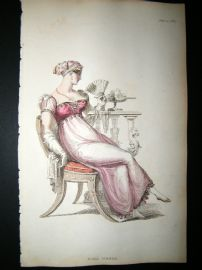Ackermann 1812 Hand Col Regency Fashion Print. Ball Dress 7-27
